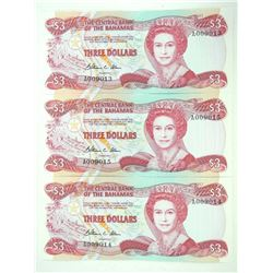 Lot (3) Central Bank of Bahamas UNC 3.00