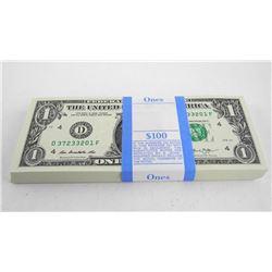 Federal Reserve 'Brick' 100 x 1.00 USA Crisp GEM UNC Original Seal 'BLDG' 4