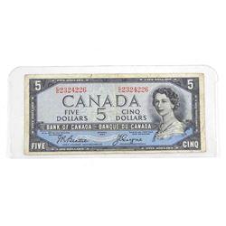 Estate Bank of Canada 1954 Five Dollar Note. Devil's Face B/C