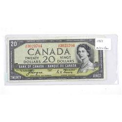 Estate Bank of Canada 1954 Twenty Dollar Note. Devil's Face C/T