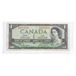 Estate Bank of Canada 1954 One Dollar Note. Devil's Face B/C