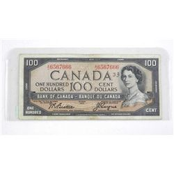 Bank of Canada 1954 One Hundred Dollar Note. Modified Portrait. B/C