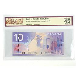 Bank of Canada 2005 Ten Dollar Note. EF45. Original BCS