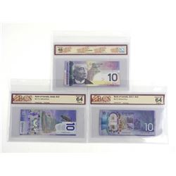 Group of Bank of Canada Ten Dollar Notes 2005, 2017, 2018 UNC-64-EF45. BCS