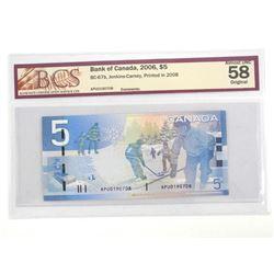 Bank of Canada Five Dollar Note Printed in 2008. AU58. Original BCS