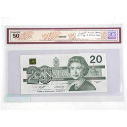 Bank of Canada 1991 Twenty Dollar Note error, Incomplete Printing Missing 2 Litho Colours AU50. BCS