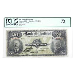The Bank of Montreal 1912 20.00 PCGS Fine 12.