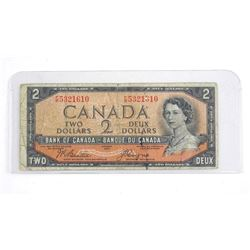 Bank of Canada 1954 Two Dollar Note. B/C Devil's face.