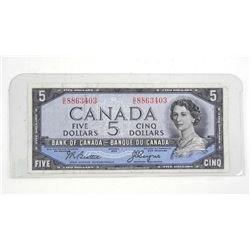 Bank of Canada 1954 Five Dollar Note. B/C Devil's face.