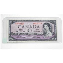 Bank of Canada 1954 Ten Dollar Note. B/C Devil's face.