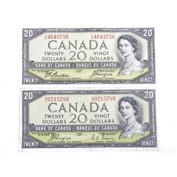 Lot (2) Bank of Canada 1954 Twenty Dollar Note. Devil's Face.2 Signature Sets