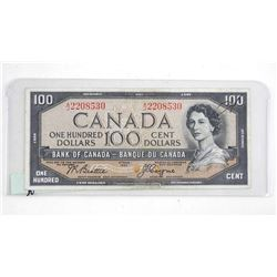 Bank of Canada 1954 One Hundred Dollar Note. Devil's Face.