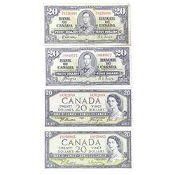Lot (4) Bank of CanadaTwenty Dollar Note 2x1954 Modified Portrait - 2x1937 4 Signature Sets