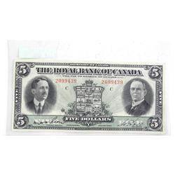 Royal Bank of Canada 1927 Five Dollar Note