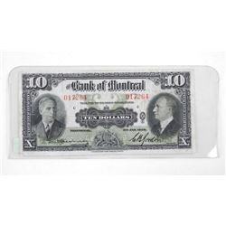 Bank of Montreal 1938 Ten Dollar Note.