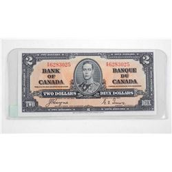 Bank of Canada 1937 Two Dollar Note. C/T