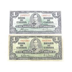 Lot (2) Bank of Canada 1937 One Dollar Note. 2 Signature Sets