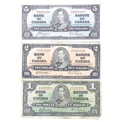Lot (3) Bank of Canada 1937 One, Two, Five Dollar Notes. 2 Signature Sets