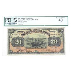 The Bank of Nova Scotia 20.00 EF40. 1925 PCGS. Scarce Note