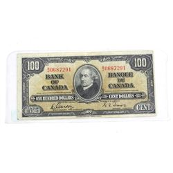 Bank of Canada 1937 One Hundred Dollar Note. G/T