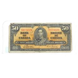 Estate Bank of Canada 1937 Fifty Dollar Note. G/T