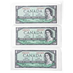 Lot (3) Bank of Canada 1954 One Dollar Note. In Sequence