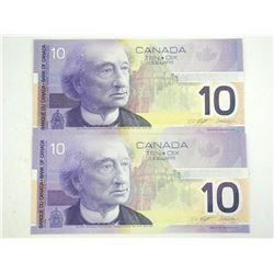 Lot (2) 2001 Bank of Canada Ten Dollar Notes Choice UNC