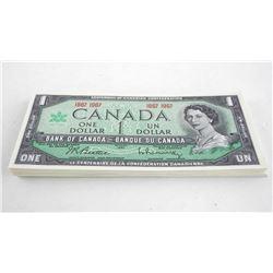 Lot (50) Bank of Canada 1987-1967 One Dollar Notes. UNC Crisp