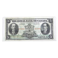 Royal Bank of Canada 1913 Five Dollar nOTES. 1 Signature