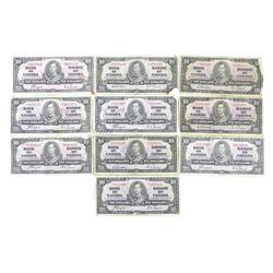 Lot (10) Bank of Canada 1937 Ten Dollar Notes. Estate Group Mixed
