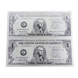 Lot (2) .9999 Silver Leaf USA 1.00 Notes