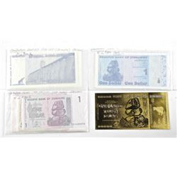 Complete Collection as Issued 'ZIMBABWE' Reserve Bank Notes - 66 Total Plus 24kt Gold 100 Hundred Tr