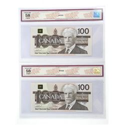 Lot (2) Bank of Canada 1988 One Hundred Dollar Notes Changeover, In Sequence UNC 58. BCS