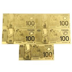 Lot (5) 24kt Gold Leaf Bank of Canada 100.00 Collector Notes