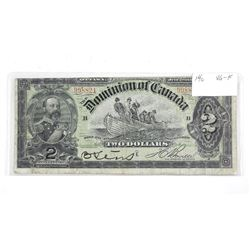 Dominion of Canada 1897 Two Dollar Note. VG-F.