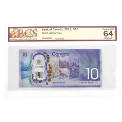 Bank of Canada 2017 10.00 Choice UNC 64 BCS