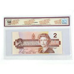 Bank of Canada 1986 2.00 AU58 Original BCS Changeover