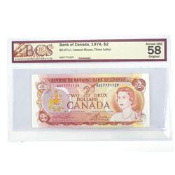 Bank of Canada 1974 2.00 AU58 Original BCS