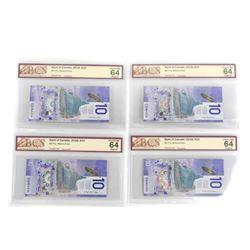 Group (4) Bank of Canada 2018 10.00 Choice UNC 64 Original - BCS