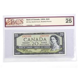 BANK OF CANADA 1954 Modified Portrait Twenty Dollar Note. VF25. BCS
