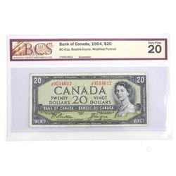 BANK OF CANADA 1954 Modified Portrait Twenty Dollar Note. VF20. BCS