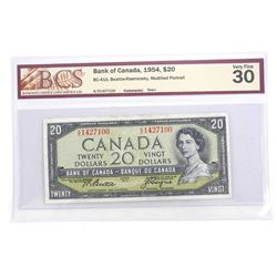 Bank of Canada 1954 Twenty Dollar Note. Modified Portrait. VF30 Original BCS