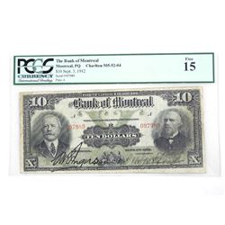 Bank of Montreal 1912 10.00 Fine 15. PCGS.