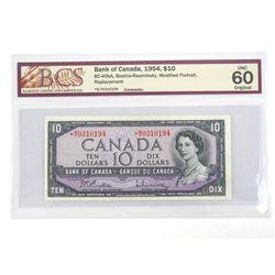 Bank of Canada 10.00 1954 Modified Portrait. UNC 60. Original BCS *Replacement