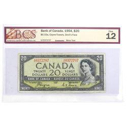 Bank of Canada 1954 Twenty Dollar Note. Devil's Face. C/T Fine 12. BCS