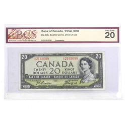 Bank of Canada 1954 Twenty Dollar Note. Devil's Face. B/C VF20. BCSÂ