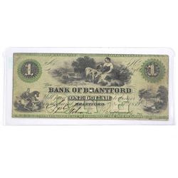 Bank of Brantford 1859 - One Dollar Note