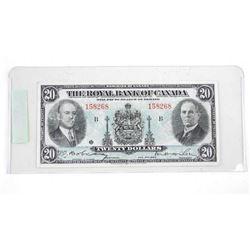 Royal Bank of Canada 1935 Twenty Dollar Note.