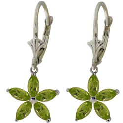 Genuine 2.8 ctw Peridot Earrings Jewelry 14KT White Gold - REF-46K7V