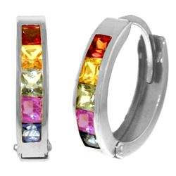 Genuine 1.30 ctw Multi-Color Sapphire Earrings Jewelry 14KT White Gold - REF-42X6M